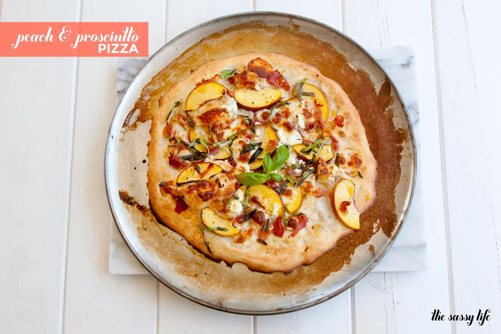 Peach, Prosciutto And Goat Cheese Pizza Recipe — Dishmaps